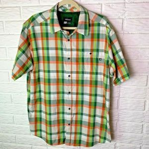 😊 Marmot Shirt Size XL Short Sleeves Plaid Green